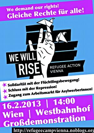 Ankündigung der Refugee-Grossdemo am 16. Februar 2013