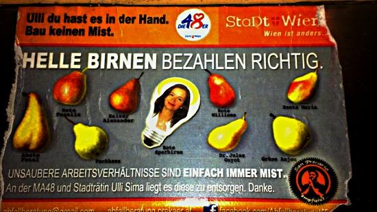 """""""Helle Birnen bezahlen richtig."""" Aktion einer Wiener Kommunikationsguerilla"""