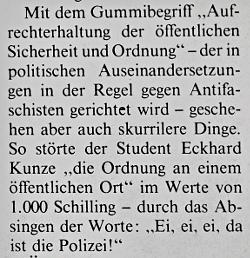 Peter Pilz und Kurt Langbein beschreiben in einem Artikel für das Extrablatt 1978 die prekäre Beziehung des Staates zu Antifaschist_innen