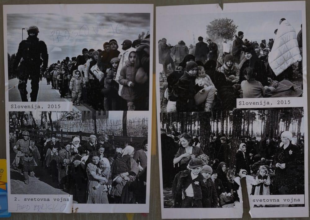 Menschen auf der Flucht: 1938 bis 2016, Plakate in Koper, Istrien.