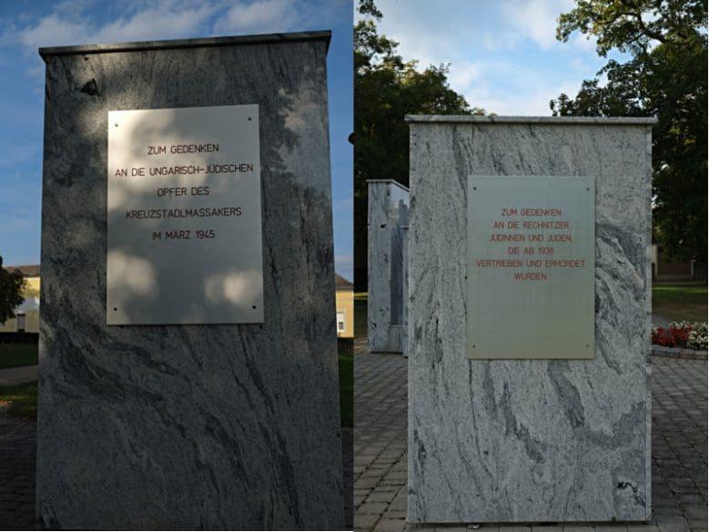 Gedenkstein, mit Tafeln, die den Opfern des Kreuzstadl-Massakers und den vertriebenen und ermordeten jüdischen Rechnitzer_innen gewidmet ist.