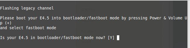 Bestätigungsdialog: Gerät / Bootloader befindet sich im Flashboot Modus