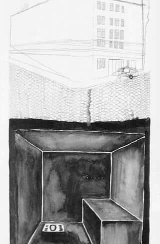 Ein früherer Gefangener des Polizeianhaltezentrum Hernals zeichnete eine Straf- und Deportationszelle. Diese besteht aus Beton und einem im Boden eingelassenen Loch. Diese Zellen sollen sich in einem unterirdischen Turm befinden.